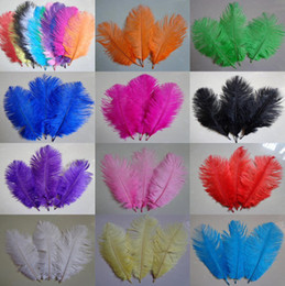 Discount multi flower brooches - Natural White Ostrich Feathers Plume For Christmas Wedding Party Table Decoration Performance Costumes Masks Flower Vases Brooch Accessories