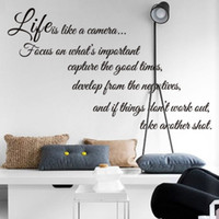 Wholesale Life Like - Free Shipping life is like a camera Quote Wall Stickers Decal Home Decor for Living Bed Room
