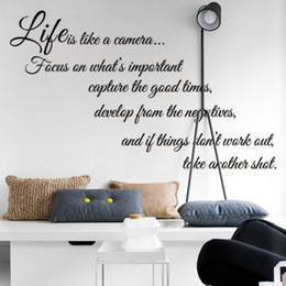 Wholesale Modern Living Bedding - Free Shipping life is like a camera Quote Wall Stickers Decal Home Decor for Living Bed Room