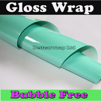Wholesale foil wrapped cars online - Premium Shiny Glossy Vinyl Tiffany Blue mint Car wrapping Film Air bubble Free Gloss tiffany foil For Vehicle Wrap x30m Roll x98ft