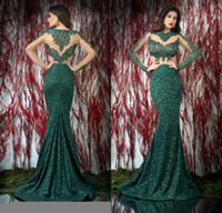 Wholesale Sexy Bien Savvy High Neck Formal Evening Gowns Sheer Long Sleeve Mermaid Applique Dark Green Lace See Through Pageant Dresses DL1312742