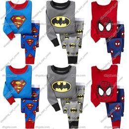 Wholesale Boys Batman Tops - Baby Kid Toddler Infant Child Boy Superman Spiderman Batman T-shirt Top+Pants Pajamas Sleepwear Outfit Outwear Sport Suit Set Cloth Costume