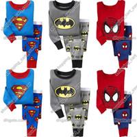 Wholesale Boys Batman Tops - Baby Kid Toddler Infant Child Boy Superman Spiderman Batman T-shirt Top+Pants Pajamas Sleepwear Outfit Sport Suit Set Cloth Clothing Costume