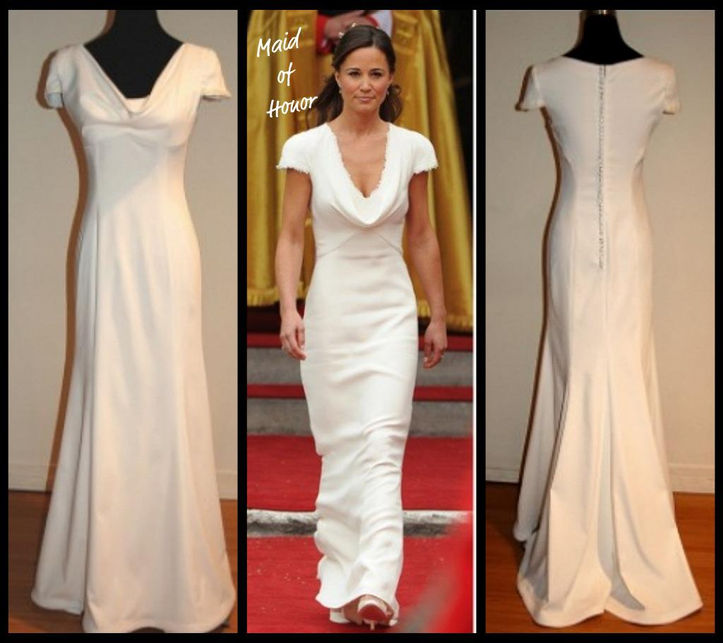 Pippa middleton bridesmaid dress maid of honor pippa for White after wedding party dress