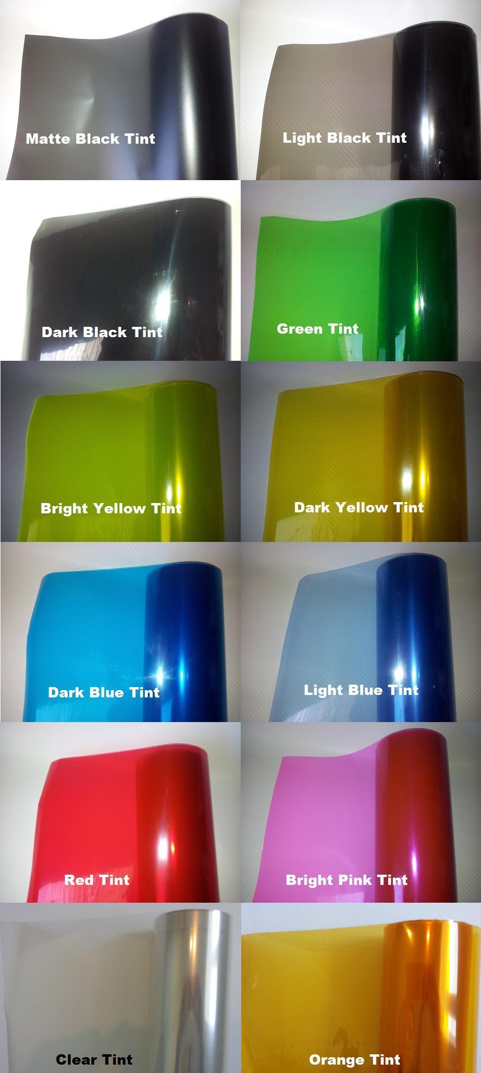 ヘッドライトテイレイトフォグライトフィルムビニールラップヘッドランプ着色ステッカー様々な色0.3M x 10メートル/ロール無料発送