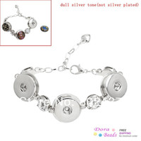 Wholesale Snap Lobster Clasp Bracelets Silver Tone Clear Rhinestone amp Extender Chain Fit Snaps Snap Buttons cm B32316