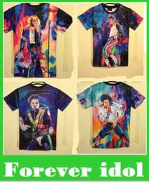 Wholesale Michael Jackson Tshirt Man - New Fashion men's 3d T-shirt print King of Rock and Roll Michael Jackson 3d t shirt for men Boy Tshirt Asia M L XL XXL top sale free