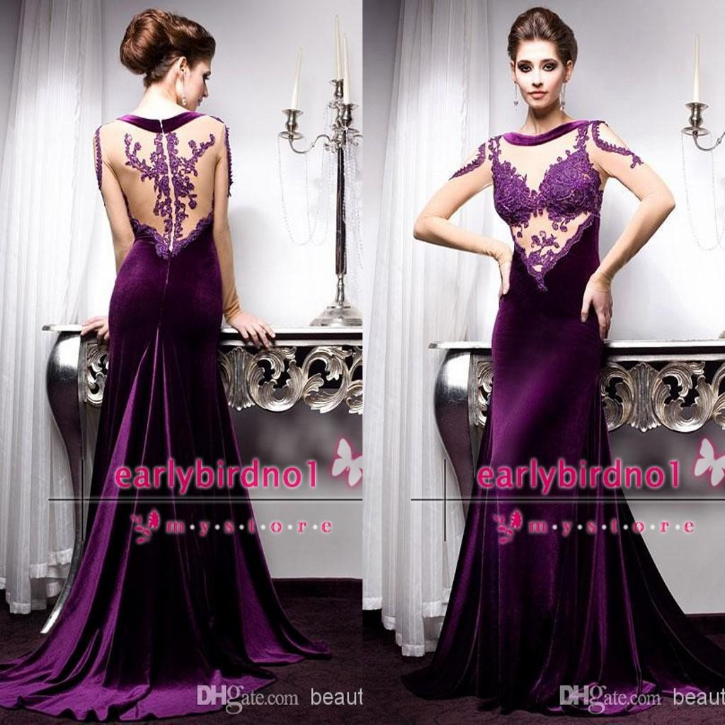2015 Vintage Purple Formal Evening Dresses Sexy Illusion Crew Neck ...
