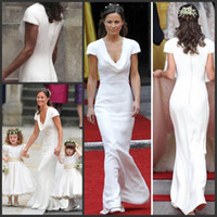 Wholesale Chiffon Wedding Dresses Uk - Vintage Affordable Pippa Middleton Bridesmaid Dress Cheap Simple Designer White Wedding Dresses A Line Draped Neck Bridal Gowns UK
