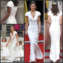 Wholesale Uk Dresses - Vintage Affordable Pippa Middleton Bridesmaid Dress Cheap Simple Designer White Wedding Dresses A Line Draped Neck Bridal Gowns UK