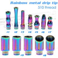 Wholesale Rda Stainless - Rainbow stainless steel drip tip Mouthpiece 510 thread for rebuildable electronic cigarette mods atomizer RBA RDA Quasar Aqua Patriot Omega