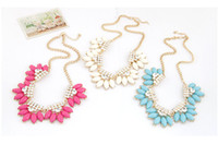 Wholesale korea wholesale gold necklace - idealway Korea Style Summer Jewelry Gold Plated Chain rhinestone Resin Gem Flower Choker Statement Necklace 6Pieces lot