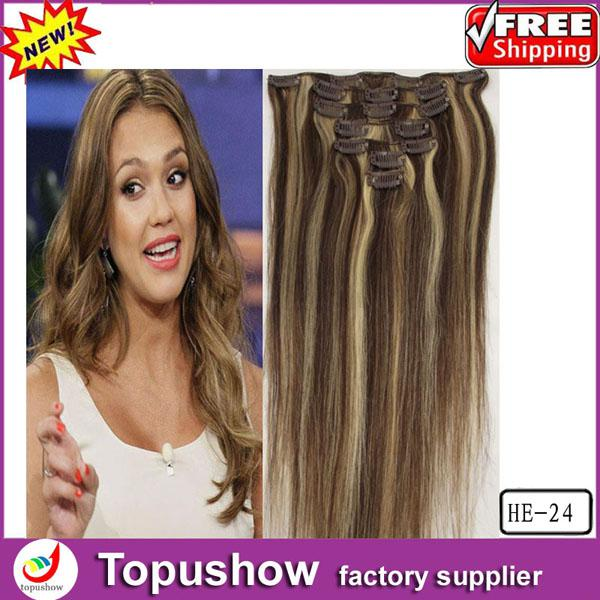 Popular Brazilian Body Wave 7pieces Clip In Hair Extensions 4 613 Light Blonde 70g 18inches Human Weaves HE 24 5set Lot