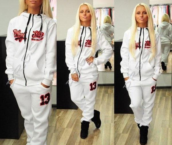 New Automne Hiver Star Style Plus Taille Sport Suit Moletom Black Star Sportswear Timati Print Set