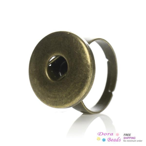 Медь регулируемые красивые кольца античная бронза Fit защелки хорошие кнопки 17.5 mm(США 7.5),20шт (B34466)