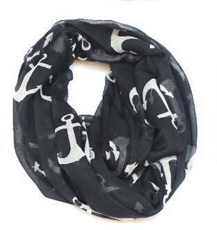 2017 HOT New Paris Filato Anchor Infinity Sciarpa in bianco e nero nautico donne sciarpe 60x160cm Accessori moda