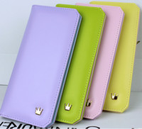 Wholesale Book Style Credit Card Wallet - Christmas 2015 Contrast color L-Wallet Flip book Crown women long wallet PU leather woman Purse handbag the gift for girlfriend
