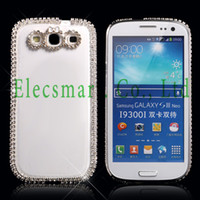 Bonito Bling 3D Glitter Diamante bowknot Crystal Clear duro Snap-on tampa do caso para Samsung Galaxy S3 III i9305 i9300