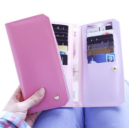Wholesale Credit Card Book - New Christmas 2014 NEW Arrival Contrast color L-Wallet Flip book Crown women long wallet PU leather woman Purse handbag gift for girlfriend