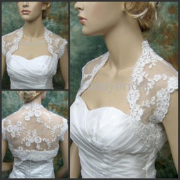 Wholesale Tulle Bolero For Wedding Dress - Bridal Jacket with Cap Sleeves 2015 Sheer Bridal Jackets with Lace Appliques Cover Back White Ivory Wraps Bridal Bolero for Wedding Dresses