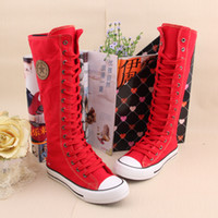 S5Q Mulheres Girl Punk EMO Rock Gothic zip Lace Up Lona boot shoe sneaker joelho AAACSS