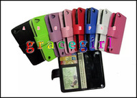 Wholesale Itouch5 Cases - Wallet Leather Stand ID Credit Card Photo Pouch Purse Plain Money Holder For Ipod Touch 5 6 6th itouch5 Book skin case Hard Slot luxury 5pcs