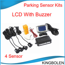 Wholesale Car Speakers Systems - Buzzer speaker 22mm 4 Sensors LCD Screen Car Parking Sensor Kit Car Reverse Backup Radar System with 10 colors free shipping