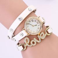 Wholesale Vintage Red Rhinestone Bracelets - Wristwatches New 2014 2015 hot Fashion Style Design Vintage Ladies Women Love Quartz Bracelet Women Rhinestone Dress Watches