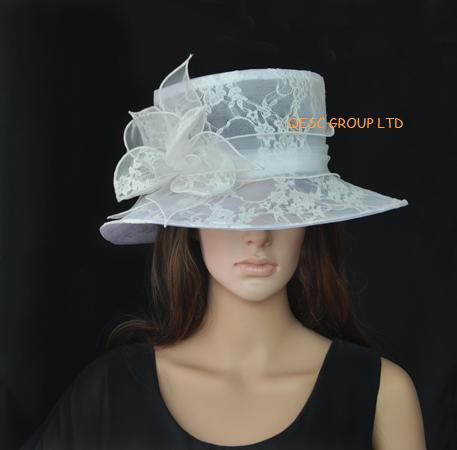 New arrival ivory lace organza hat bridal hats formal for Dress hats for weddings