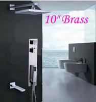 "Wholesale Wall Mount Bathtub Faucets - Wall Mounted Bathroom 10"" Thermostatic Shower Faucet Dual Handles Bathtub Mixer"