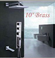 "Wholesale Taps Handheld Shower - New Thermostatic 10"" Rain Shower Bathtub Mixer Tap With Handheld Shower"