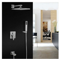 Wholesale Electric Shower Faucet - Modern Chrome Brass Rain Shower Faucet Single Handle Bathtub Mixer With Hand Shower