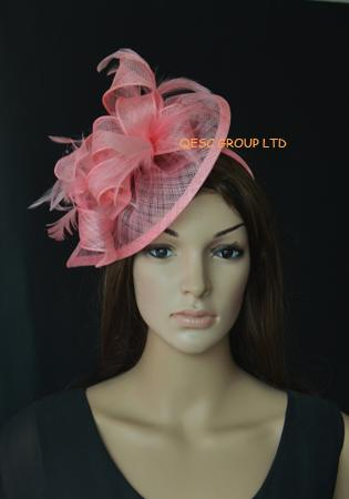 High quality Pink flamingo Sinamay fascinator church wedding hat bridal  headpiece with feathers for formal occasion 0ea63a02317