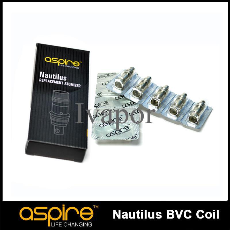 Original Aspire Nautilus BVC Bobina 0.7 / 1.6 / 1.8 Ohm Bobinas Núcleo de cabeza para Nautilus Mini 2 CE5 k1 ETS vidrio