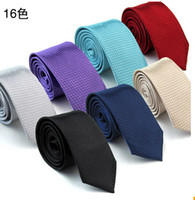 Wholesale Designer Silk Neckties - Fashion hot women and men polyester silk plaid dress ties skinny solid wedding business designer narrow pure color necktie lx001