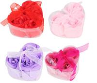 Wholesale Rose Soap 3pcs - Hot sale 3pcs 9pcs Body Soap Romantic Bath Rose Petal Scented Flower Gift Party Wedding Favor