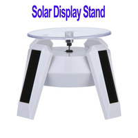 Wholesale Solar Power Display Stand - New White Solar Powered Jewelry Phone Rotating Display Stand Turn Table with LED Light , Wholesale H8736