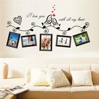Wholesale Wholesale Frames Birds - Love Birds Photo Frame Art Wall Stickers Decal Romantic Wedding Room H10324