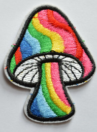 Wholesale Sew Patches Retro - Free Shipping ~ Mushroom retro 70's hippie love peace Embroidered Iron On Patch ~ can be sewed ~ DIY accessory Applique