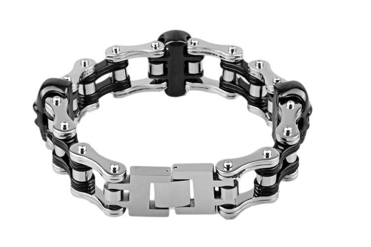 2017 nouveaux bijoux Pour XMAS Cadeaux Awesome Noir chrome crâne chopper En Acier Inoxydable Biker Moto Chaîne Bracelet 9 ''