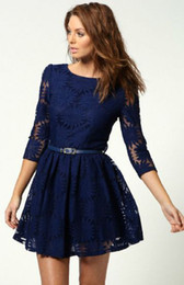 Wholesale Hollow Worked Gowns - New Arrivals Hot Fashion 2016 Summer Casual Dark Blue Zipper V-back 2 3 Sleeve Slim Fit Belt Sunflower Lace Skater A-Line Dress