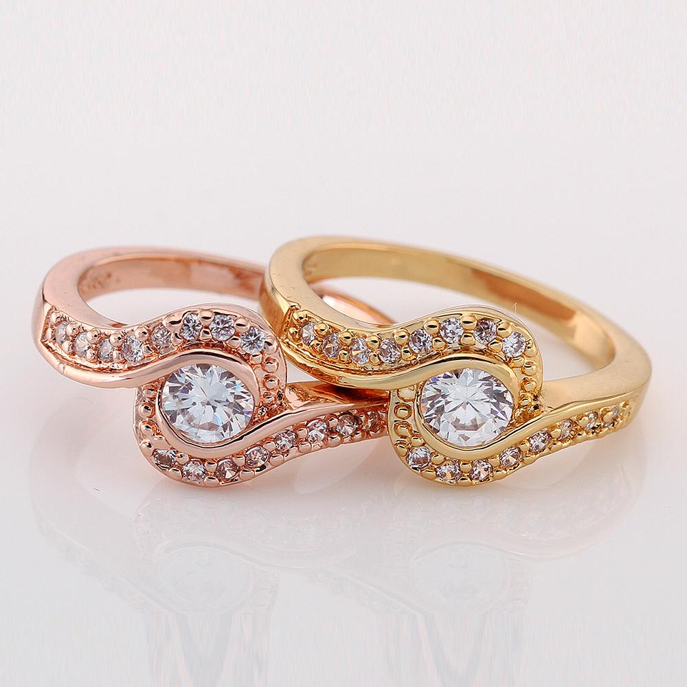 Luxury 18k Gold Plated Simulated Diamond Cz Engagement Rings For Women  Fashion Rings Swarovski Crystal Ring