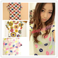 Wholesale Loose Batwing China - 100%New S-XXL, 20 Colors Hot Sale Women Bird Colorful Batwing Sleeve Chiffon Shirt, Loose Blouse china post