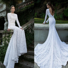 Wholesale Vintage Pretty Bridal - White Vintage Lace Bateau Ribbon Backless Mermaid Winter Long Sleeve Wedding Dresses Wedding Gowns Pretty Bridal Wedding Dress