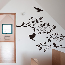Wholesale Bird Live Wallpaper - Tree Branch and Birds Vinyl Art Wall Decal Removable Wall Sticker Home Decor wallpaper mural