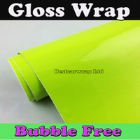 Wholesale mirror decoration stickers for sale - Group buy Fluorescent Yellow Glossy Shiny Car Wrap Film Gloss decoration Vehicle Graphic With Air bubble Free size x30m Roll x98ft