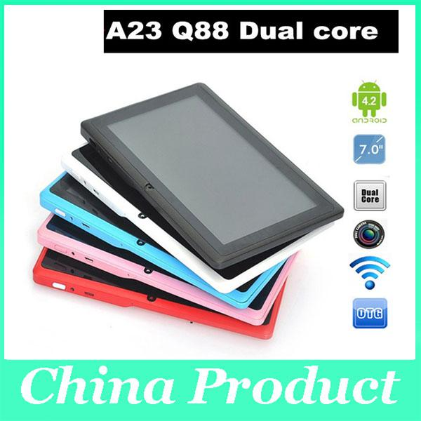Nice Gift Q88 A23 with keyboard case Tablet PC Android 4.2 Dual Camera 512MB 4GB 7 Inch dual core factory pirice