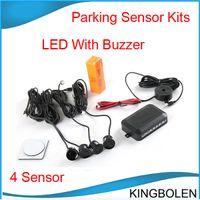 Wholesale Sensor System Sound Alert - Wholesale price 4 Sensors Buzzer No Drill Hole Saw 22mm Car Parking Sensor Kit Reverse Radar Sound Alert Indicator System Free shipping