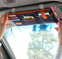 Wholesale Sunvisor Organizer - High quality Korea Style Car Sunvisor Point Multi Pocket Hang Storage Organizer Arrangement Bag of Sun Visor 3 Colors 50pcs
