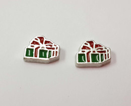 Wholesale Wholesale Christmas Floating Charms - Christmas Present Gift Floating Charm for Glass Memory, Living Lockets